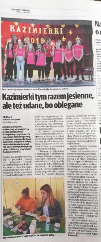 IMG_20191006_212107  artykuł o kazimierkach w Dziennik malborski