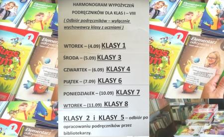 Harmonogram wypożyczeń darmowych podręczników