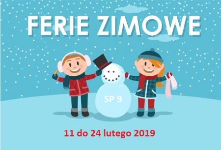 Ferie zimowe od 11 do 24 lutego 2019
