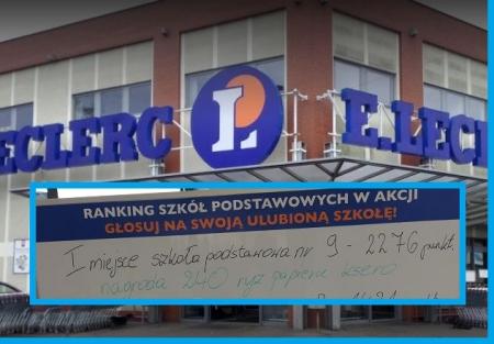 Nasza szkoła uplasowała się na I miejscu w mieście w akcji marketu E.Leclerc