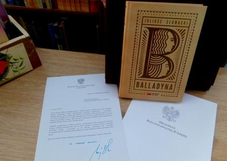 Podziękowanie dla ,,dziewiątki'' od Prezydenta RP za udział w akcji ,,Narodowe Czytanie''